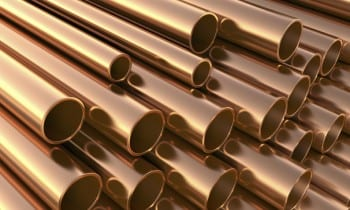 copper pipes in warehouse