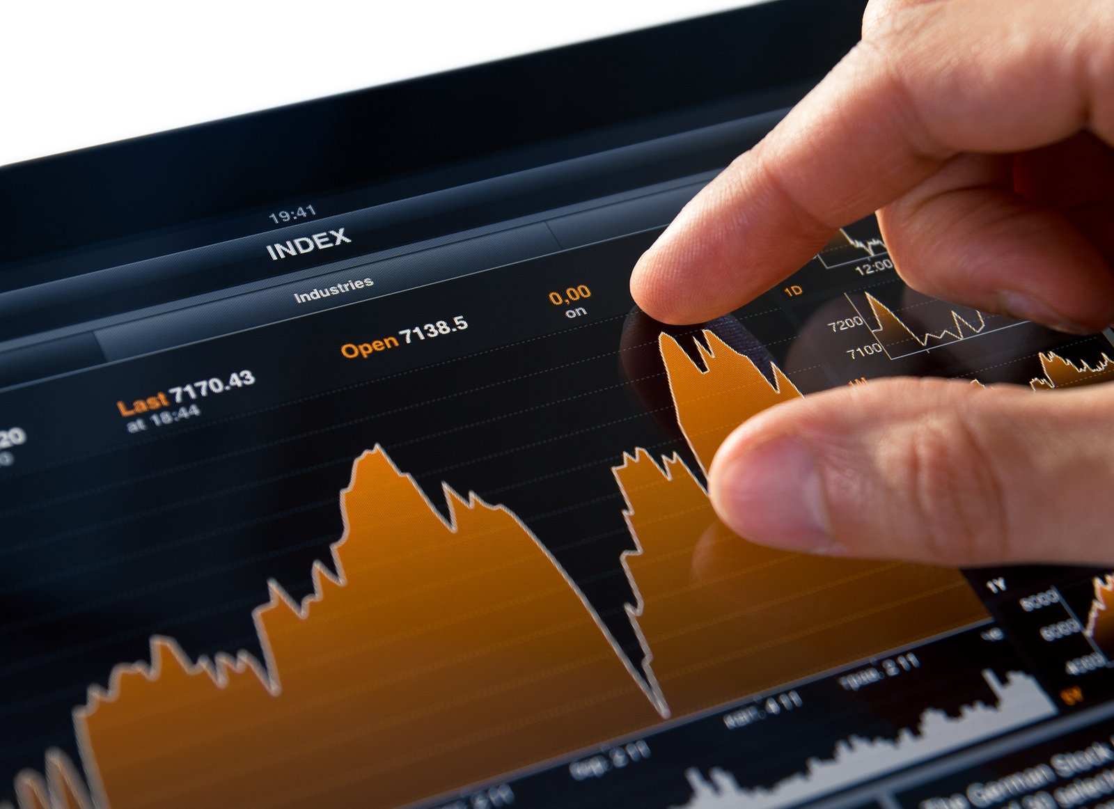 Analyzing stock market graph on a touch screen device.