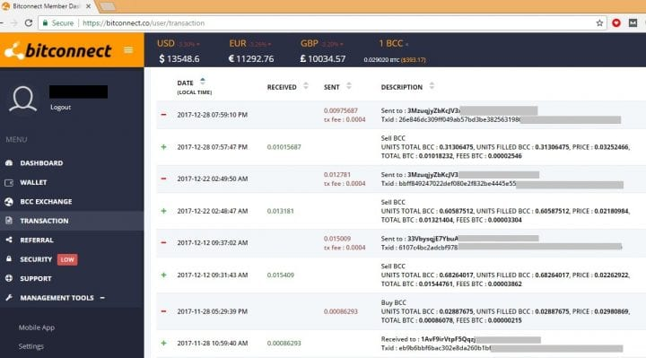 Proof Of Bitconnect Lending Profits Withdrawal