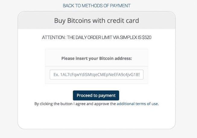 entering your Bitcoin address on coinmama