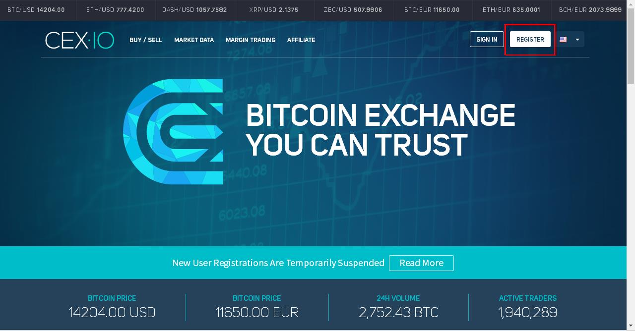 register on cex.io site for buy bitcoin using credit/debit card