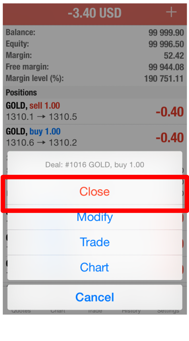 Account Balance when trading forex using mt4 iPhone app
