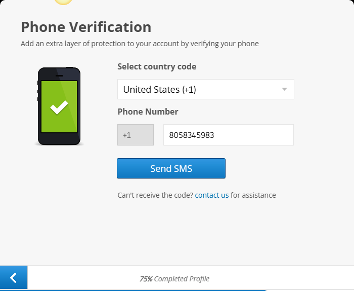 phone verification for etoro registration