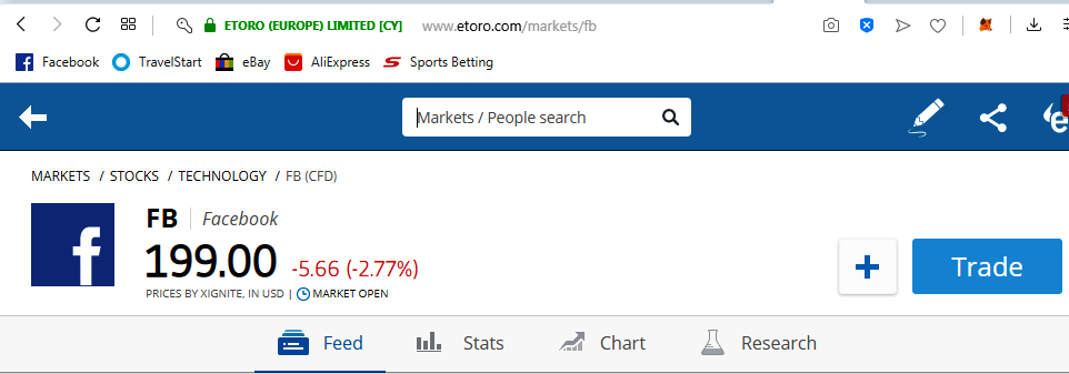 how to start facebook stock (FB) stock trading on eToro