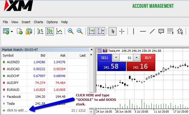 search google stock on XM Broker