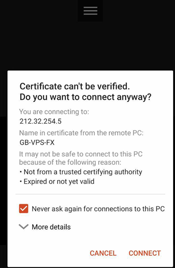 "you can decide to accept the certificate by clicking the ""Connect"" tab"